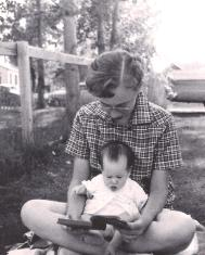 My mother giving me an early reading lesson