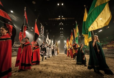 background medieval times performer acting becoming dramatic during line tournament dinner there