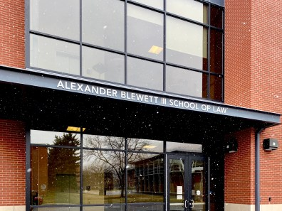 Photo of the outside of Alexander Blewett III School of Law