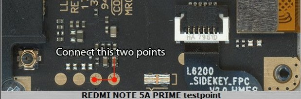 Xiaomi Redmi Note 5A Prime Test Point For EDL Mode