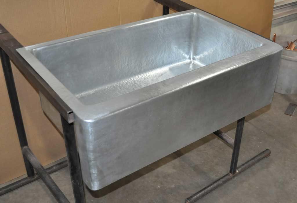 zinc farm sink single basin hand
