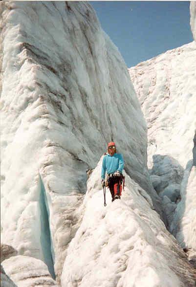 R Richards at ice climbing school site, Mt. Baker, WA