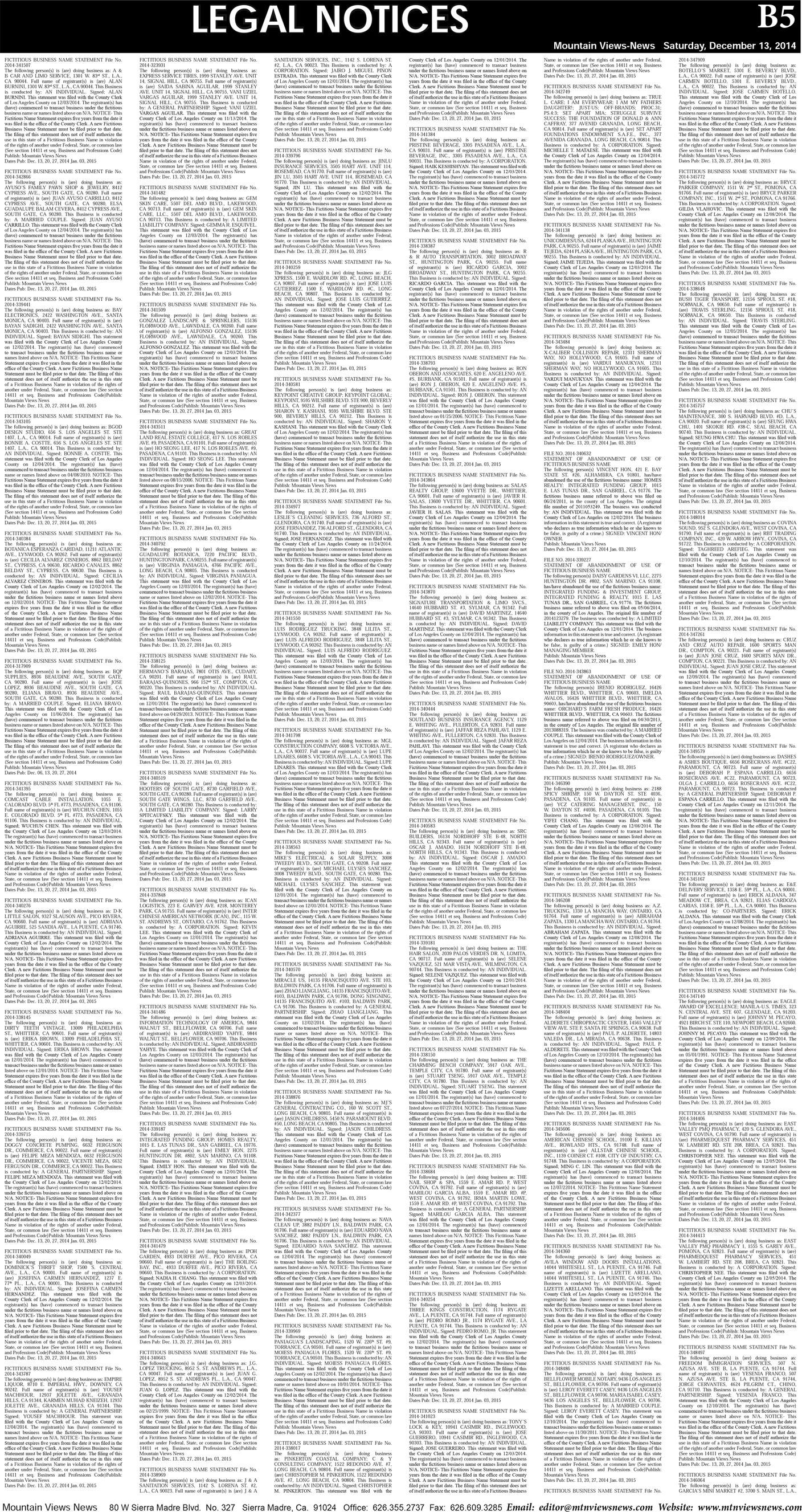 pB:5, v8.50 — Legal Notices (1) — Mountain Views News