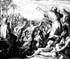Ezra and exiles return (woodcut by Schnorr von Carolsfeld)