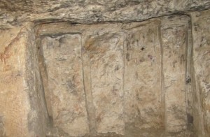 Limestone quarry under Jerusalem: four stones partly cut out