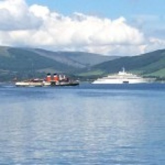 Eclipse and paddle steamer on the clyde. preparing for tidal yachtmaster?