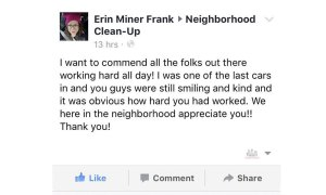neighborhood cleanup Facebook comment