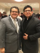 Michael Anastasi, executive editor of The Tennessean, meets Yuri Cunza, president and CEO of Nashville Area Hispanic Chamber of Commerce, at the MTSU March 1 gathering.