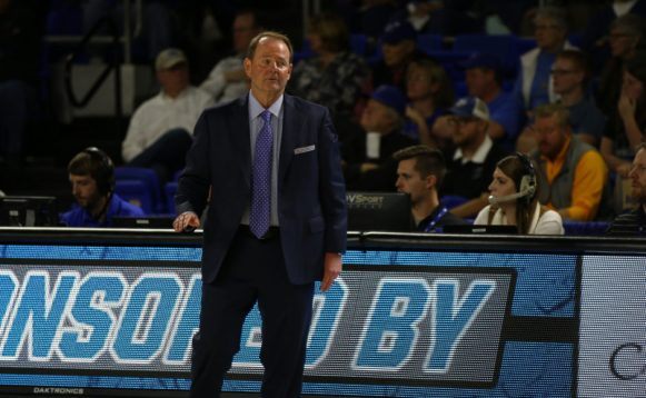 Head coach Kermit Davis leads his team to the top spot in the conference with a win against the University of Texas-San Antonio on Jan. 25, 2018, in Murfreesboro, Tenn. (David Chamberlain / MTSU Sidelines)