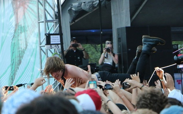 Matt Shultz of Cage the Elephant crowd surfs at the Forecastle Festival in Louisville, Ky., on Friday, July 17, 2015. (MTSU Sidelines / John Connor Coulston)