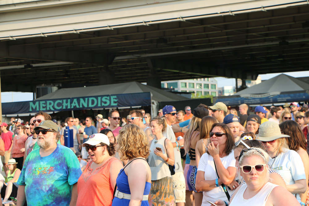 Festival-goers look on as Cage the Elephant performs at the Forecastle Festival in Louisville, Ky., on Friday, July 17, 2015. (MTSU Sidelines / John Connor Coulston)