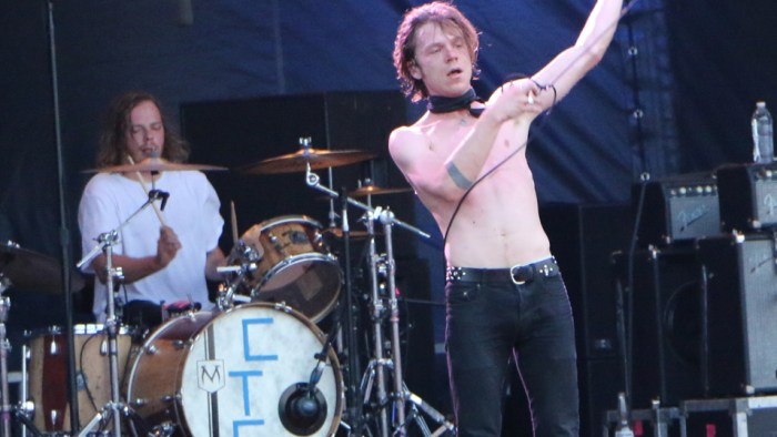 Jared Champion, left, and Matt Shultz, right, of Cage the Elephant perform at the Forecastle Festival in Louisville, Ky., on Friday, July 17, 2015. (MTSU Sidelines / John Connor Coulston)