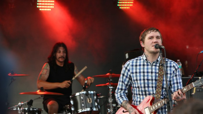 Benny Horowitz, left, and Brian Fallon, right, of the Gaslight Anthem perform at the Forecastle Festival in Louisville, Ky., on Friday, July 17, 2015. (MTSU Sidelines / John Connor Coulston)