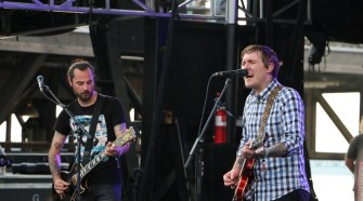 Alex Rosamilia, left, and Brian Fallon, right, of the Gaslight Anthem perform at the Forecastle Festival in Louisville, Ky., on Friday, July 17, 2015. (MTSU Sidelines / John Connor Coulston)