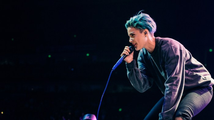 "Halsey performs at Bridgestone Arena in Nashville, Tenn. on Wednesday, June 8, 2015, The performance was part of Imagine Dragons' ""Smoke + Mirrors"" tour. (MTSU Sidelines / Andre Rowlett)"