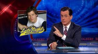 """Stephen Colbert discussing David Letterman's retirement from """"The Late Show"""" on Comedy Central's """"The Colbert Report."""" (FILE)"""