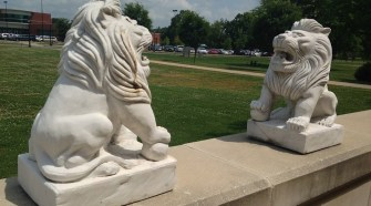 Two of the four lion sculptures on display outside the MTSU University Honors college in Murfreesboro, Tenn. (MTSU Sidelines / John Connor Coulston)
