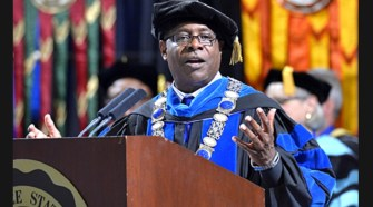 MTSU President Sidney A. McPhee gives welcoming remarks during the 2013 MTSU Convocation ceremony held Sunday, Aug. 25, at Murphy Center. (MTSU / J. Intintoli)