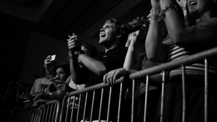 Fans cheer as Moon Taxi performs at MTSU's Student Union Ballroom in Murfreesboro, Tenn. on Tuesday, October 1, 2013. (MTSU Sidelines / Brett Turner)