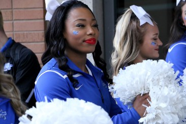 MTSU cheerleader Marresa Burke at a pep rally prior to in an NCAA Tournament second-round game in Milwaukee, WI on March 19, 2017. (MTSU Sidelines/Tyler Lamb)