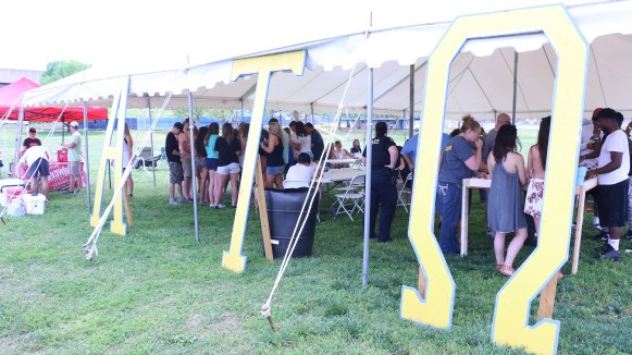 Alpha Tau Omega Greek letter stands were assembled outside of the tent on April 15, 2017. (Caleb Revill / MTSU Sidelines)
