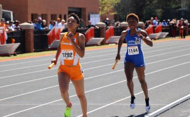 Abike Egbeniyi running during the Tennessee Relays in Knoxville, TN on April 8, 2017. (MTSU Sidelines/Jonathan Clark)