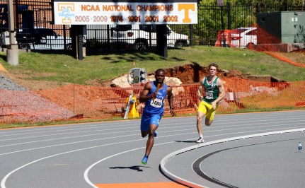 MTSU junior Ifiok Umoh running during the Tennessee Relays in Knoxville, TN on April 8, 2017. (MTSU Sidelines/Jonathan Clark)