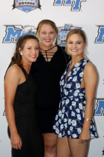 Members of the MTSU softball team pose for a picture on on the Blue Carpet at the Raiders' Choice Awards on Thursday, April 28, 2017. (MTSU Sidelines/Devin P. Grimes)
