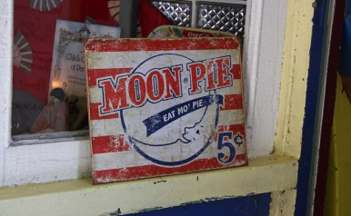 A rustic Moon Pie sign completely captures the essence of Bell Buckle at the RC-Moon Pie Festival. (Tayhlor Stephenson / Sidelines)