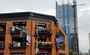 Predators fans get ready for the game on the balconies of Honkey Tonk Central. (Alexis Marshall / Sidelines)
