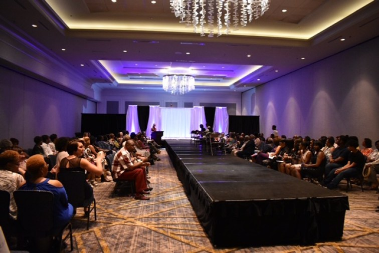 "The runway serves as the centerpiece of the room at ""A Touch of Paris Fashion Show"" in Franklin, Tenn. on July 29, 2017. (Genesis Rodriguez / MTSU Sidelines)"