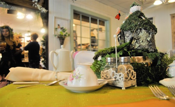 The tea room is prepared for guests at the Southern Charm Woodland Fairy Tea Party in Bell Buckle, Tenn. on July 8, 2017. (Meredith White / MTSU Sidelines)