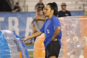 Sophomore organizational communication major Bria Miller gets ready for the co-ed bubble ball match in Murfreesboro, Tenn. on Oct. 3, 2017. (Shade Narramore / MTSU Sidelines)