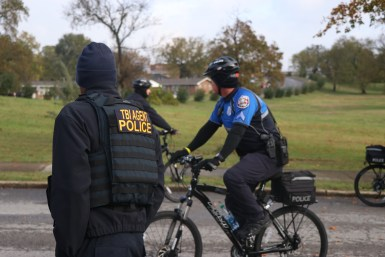 The Tennessee Board of Investigation had officers onsite at the white nationalist rally, both on the ground and on bikes on Oct. 28, 2017, in Shelbyville, Tenn. (Anthony Merriweather / MTSU Sidelines)