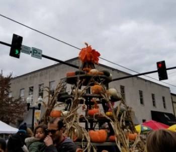 A tree made of pumpkins stands tall at PumpkinFest in Franklin, Tenn. on Oct. 28, 2017. (Gerardo Palacios / MTSU Sidelines)