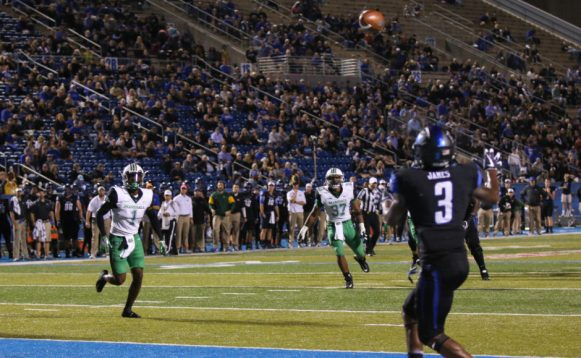 Richie James had MTSU's only touchdown of the night against Marshall on October 20, 2017 in Murfreesboro, TN (Devin P. Grimes/ MTSU Sidelines).