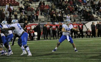 Redshirt junior Brent Stockstill prepares to fire a pass downfield against Western Kentucky in Bowling Green, Ky. on Nov. 17, 2017. (Devin P. Grimes / MTSU Sidelines)