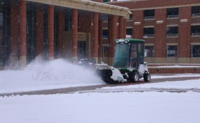 Snow plows were out in full force on Jan. 16, 2018, as they attempted to get the campus ready for Wednesday classes (Devin P. Grimes / MTSU Sidelines).