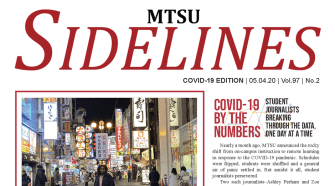 a screenshot of the front page of Sidelines' COVID-19 print edition, showing Hanan Beyenne in Japan, and a chart of COVID-19 numbers,