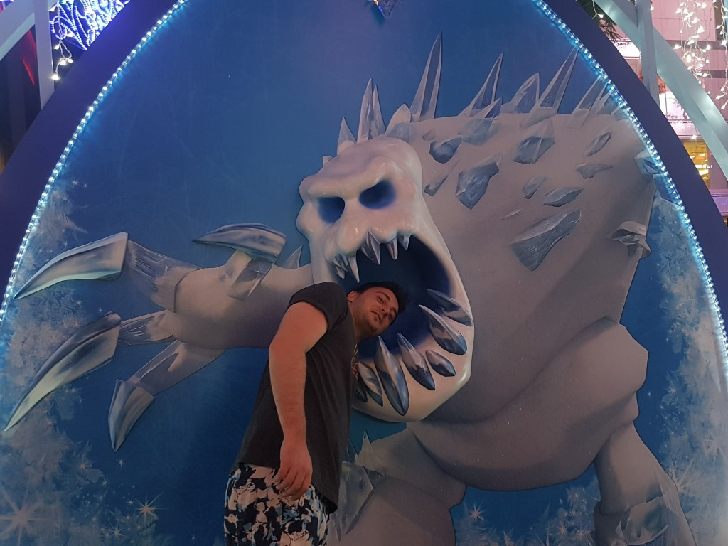 Tristons head in the mouth of the snow monster from frozen
