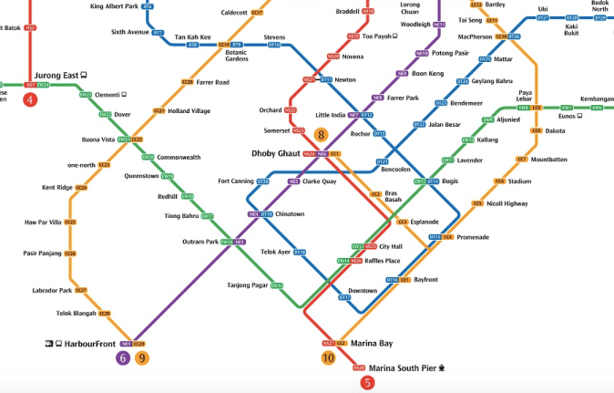 MRT map - Bugis to Little India to Harbourfront