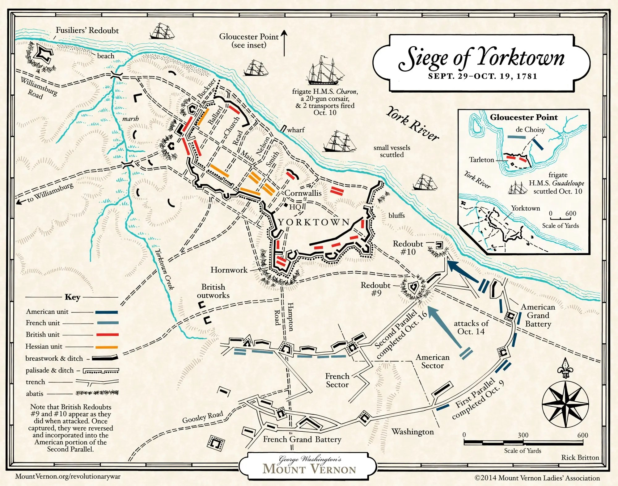 Map The Siege Of Yorktown George Washington S Mount Vernon