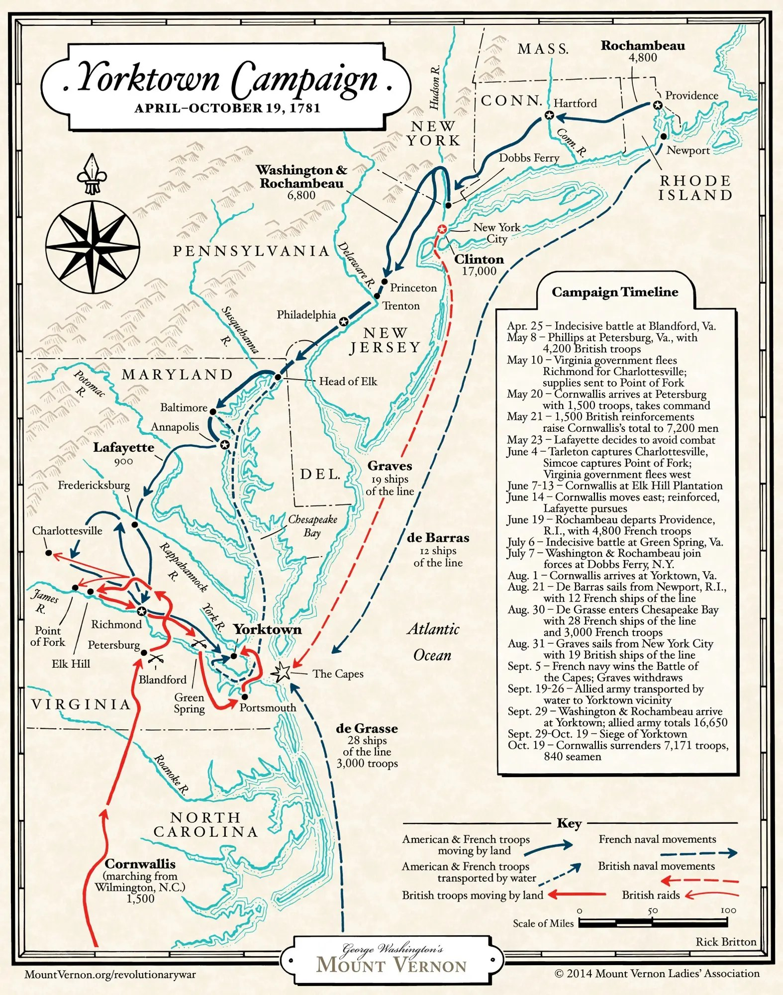 Map The Yorktown Campaign Of George Washington S
