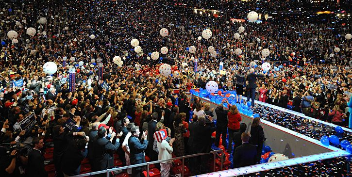 Senator John McCain and his running mate Governor Sarah Palin address the crowd during the balloon-filled closing ceremony of the convention on Thursday night