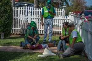 Simulated injuries from earthquake - photo by Martha Benedict