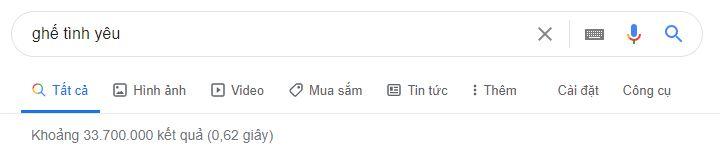 thông tin tinm kiếm về ghế tình yêu trên google