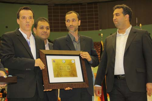 A plaque of appreciation for Mr Baghaei