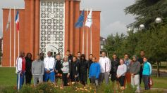 French athletes in front of INSEP