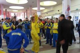 Athletes dancing