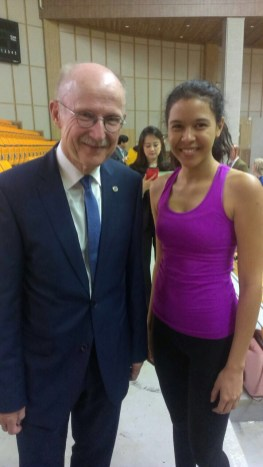 IFMA's Youth Ambassador Kiana Guyon with Wilfried Lemke the special advisor to the UN General Secretary on Sports Development and Peace